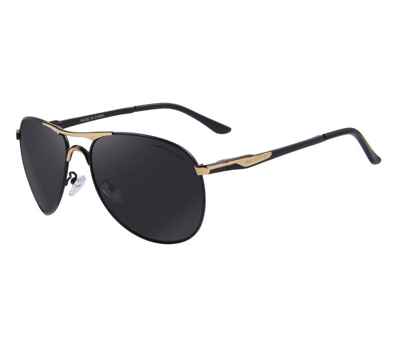 7347ba7eb Vysoko polarizované pánske slnečné okuliare - čierno-zlaté pilotky