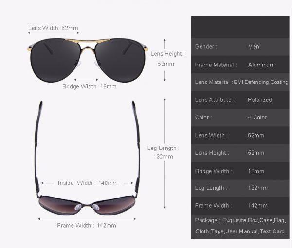 Vysoko polarizované pánske slnečné okuliare - strieborné pilotky