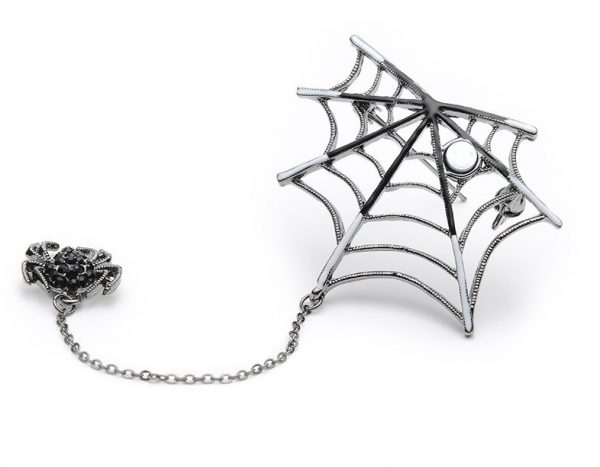 Luxusná smaltovaná brošňa v tvare pavúka s magnetom na pavučine