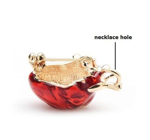 Prepracovaná smaltovaná brošňa prívesok na náhrdelník v tvare srdca