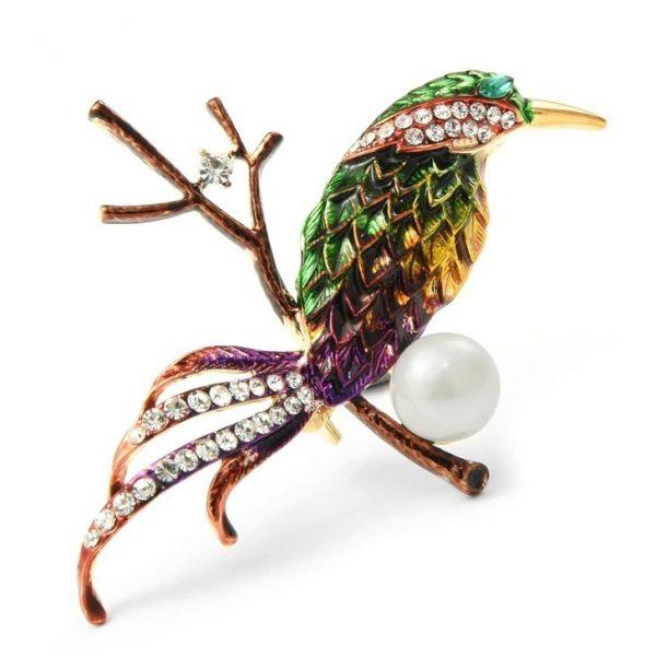 Prepracovaná smaltovaná brošňa v podobe farebného vtáčika