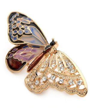 Prepracovaná smaltovaná brošňa v podobe motýľa