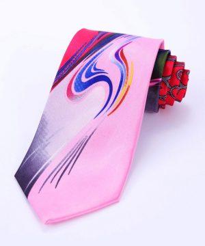 Výstredná pánska kravata v ružovo-červenom prevedení