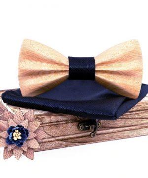 Drevený motýlikový set z bukového dreva - drevený motýlik + brošňa + vreckovka