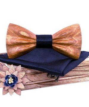 Drevený motýlikový set z javorového dreva - drevený motýlik + brošňa + vreckovka