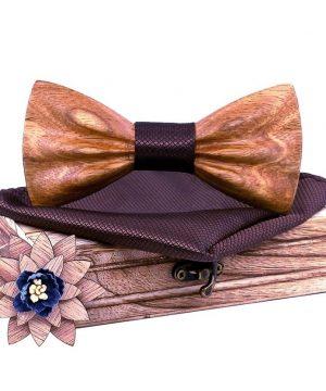 37c099408076b ... Drevený motýlikový set z javorového dreva - drevený motýlik + brošňa +  vreckovka