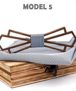 Moderný drevený motýlik z orechového dreva s vreckovkou - viac farieb