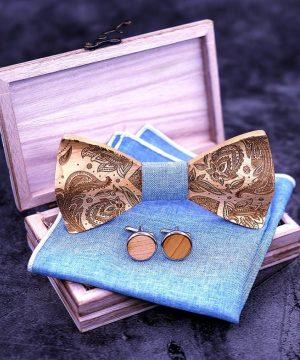 Reliéfny motýlikový set s ľudovým kvetinovým vzorom z javorového dreva