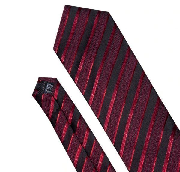 Pánsky kravatový set - kravata + manžety + vreckovka s červenými pásikmi