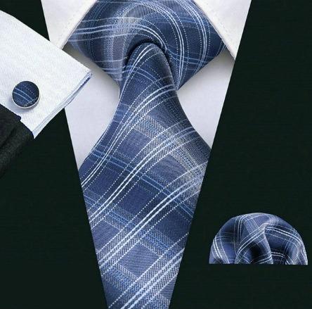 Pánsky set - kravata + manžety + vreckovka s modrým vzorom