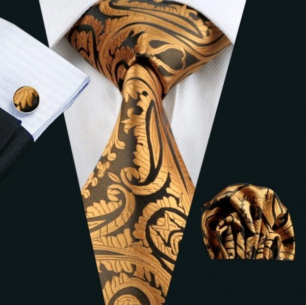 Pánsky set - kravata + manžety + vreckovka so zlatým vzorom