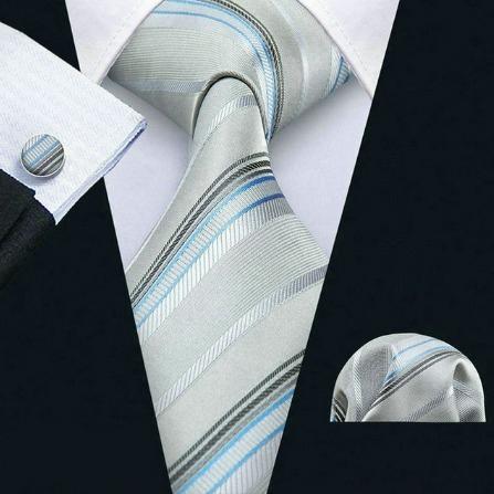 Pánsky set - kravata + manžety + vreckovka v sivo-modrej farbe