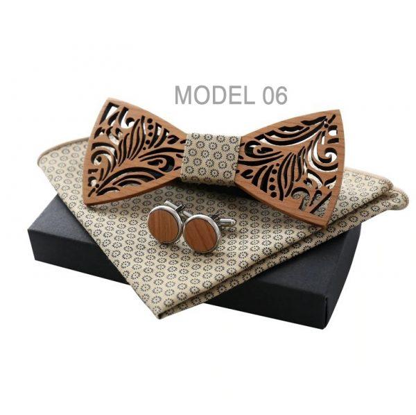 Motýlikový set z vyrezávaného dreva - drevený motýlik + manžety + vreckovka