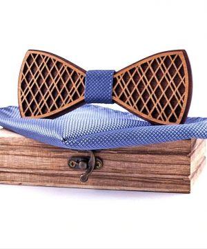 Pánsky drevený motýlik z dvoch druhov dreva s vreckovkou