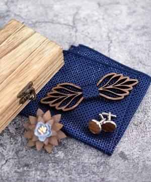 Vyrezávaný set - drevený motýlik+brošňa+manžety+vreckovka