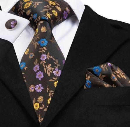 Darčeková sada - kravata + manžety + vreckovka s kvietkami