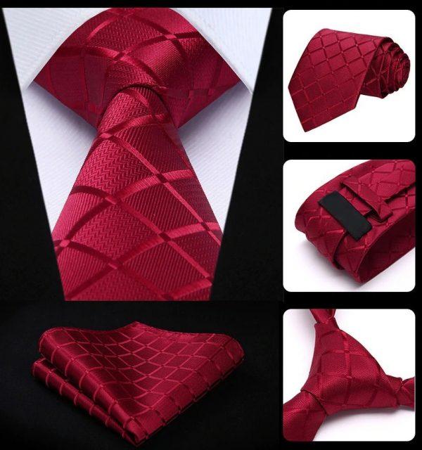 Pánska kravata a vreckovka - hodvábny set s červeným vzorom