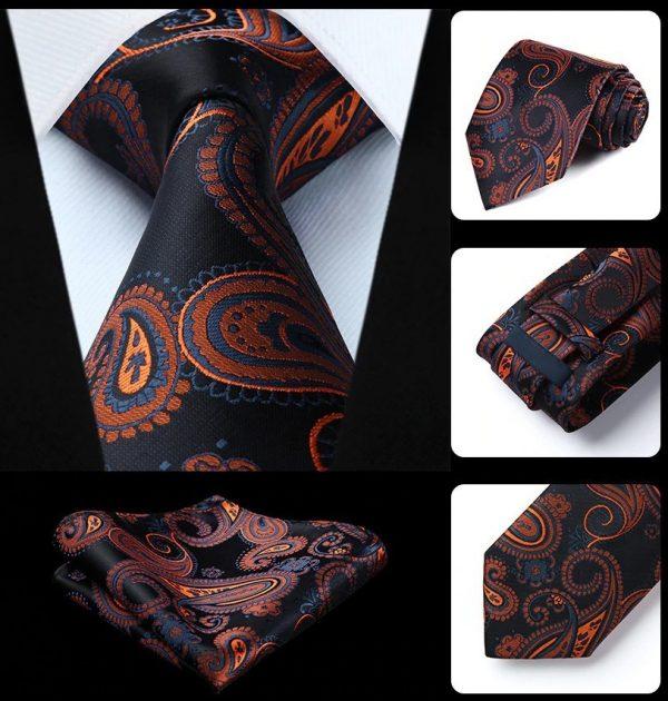 Pánska kravata a vreckovka - hodvábny set s čierno-pomarančovým vzorom