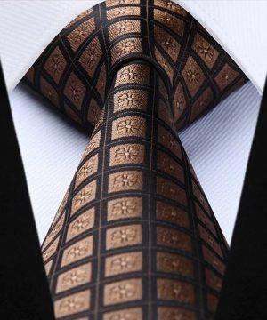 Pánska kravata a vreckovka - hodvábny set s hnedými štvorčekmi