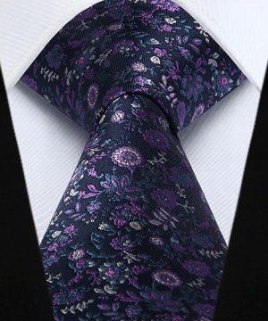 Pánska kravata a vreckovka - hodvábny set s modro-ružovými kvietkami