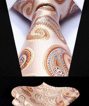 Pánska kravata a vreckovka - hodvábny set s pomarančovým vzorom