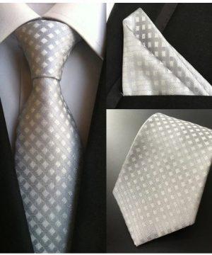 Pánska kravata a vreckovka - hodvábny set so strieborným vzorom