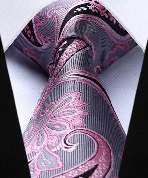 Pánska kravata a vreckovka - hodvábny set v sivo-ružovej farbe