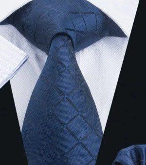 Pánsky set - kravata + manžety + vreckovka v tmavo-modrej farbe