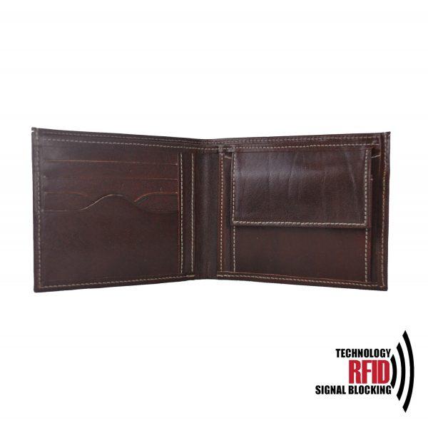 RFID kožená peňaženka v tmavo hnedej farbe vybavená blokáciou RFID / NFC, č.8406