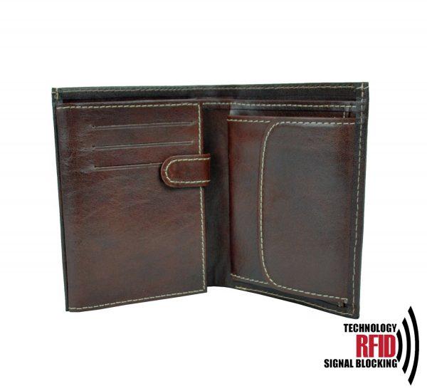 RFID kožená peňaženka v tmavo hnedej farbe vybavená blokáciou RFID / NFC, č.8560