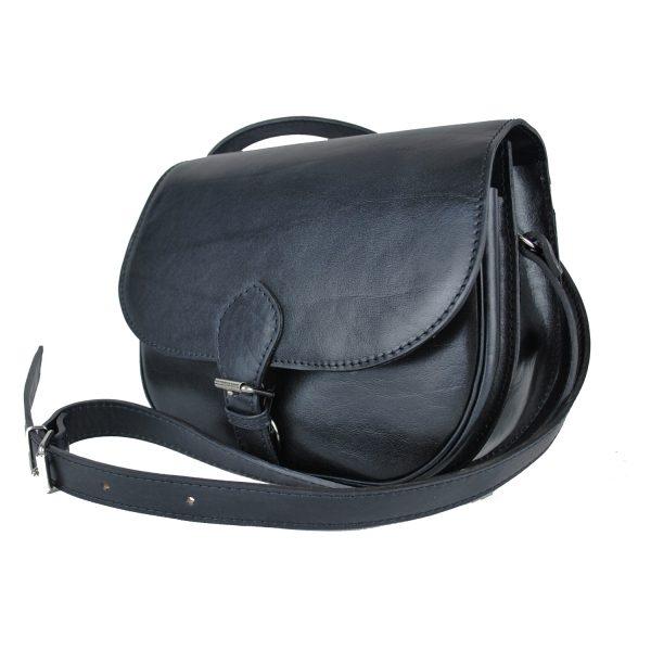 Lovecká kožená taška v čiernej farbe s vyťahovacím zámkom