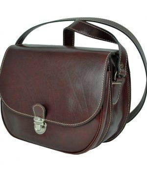 Lovecká kožená taška v hnedej farbe s vyťahovacím zámkom
