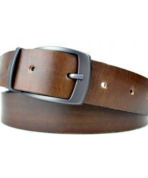 Obojstranný ručné farbený kožený opasok, 3cm, Mahagon-Black