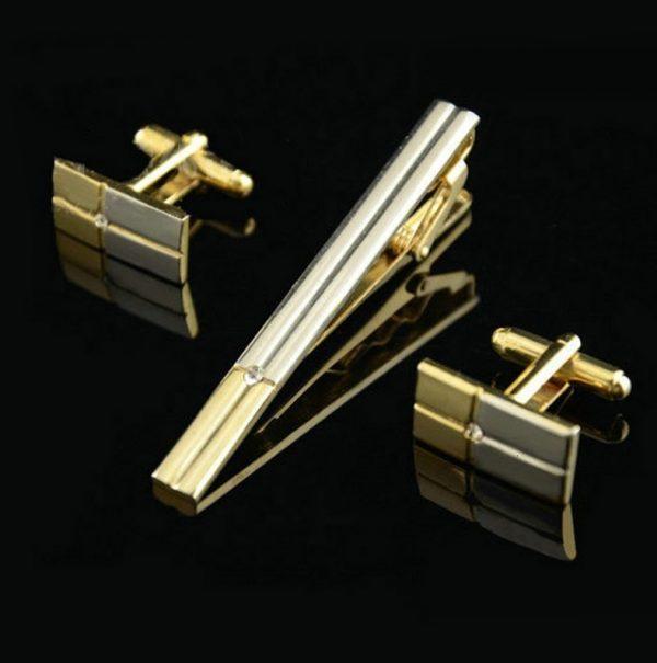 Luxusný pánsky set - manžety a kravatová spona s kryštálom