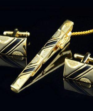Luxusný pánsky set - manžety a kravatová spona so zlato-čiernym vzorom
