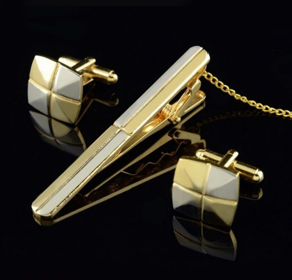 Luxusný pánsky set - manžety a kravatová spona - zlato-strieborný kríž