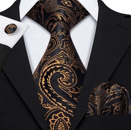 Kravatový set - kravata + manžety + vreckovka s luxusným vzorom