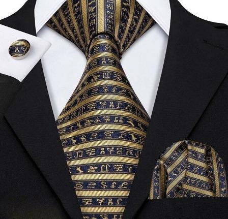 Kravatový set - kravata + manžety + vreckovka so zlatými hieroglyflmi