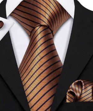 Kravatový set - kravata + manžety + vreckovka v medenej farbe s pásikmi