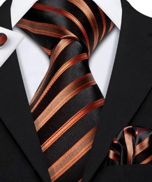 Luxusný set - kravata + manžety + vreckovka s medeným vzorom