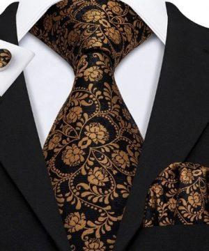 Pánsky kravatový set - kravata + manžety + vreckovka s medeným vzorom
