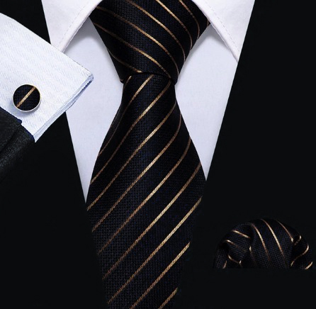 Pánsky kravatový set - kravata + manžety + vreckovka s medenými pásikmi