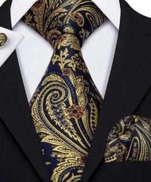 Pánsky kravatový set - kravata + manžety + vreckovka v modro-zlatej farbe