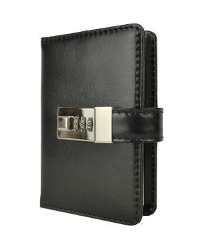 Malý kožený zápisník z prírodnej kože na heslový zámok, čierna farba