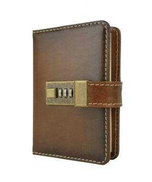 Malý kožený zápisník z prírodnej kože na heslový zámok, ručne tieňovaný, hnedá farba