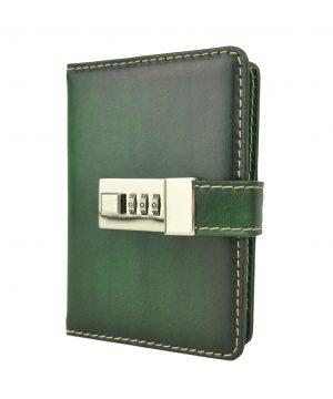 Malý kožený zápisník z prírodnej kože na heslový zámok, ručne tieňovaný, zelená farba