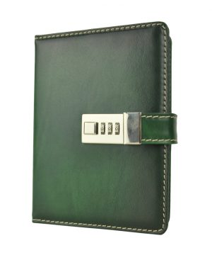 Veľký kožený zápisník z prírodnej kože na heslový zámok, ručne tieňovaný, zelená farba