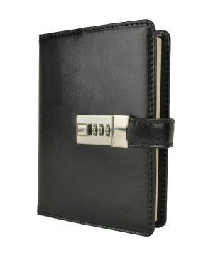 Veľký kožený zápisník z prírodnej kože na heslový zámok, čierna farba