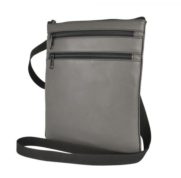Kožená crossbody taška šedá