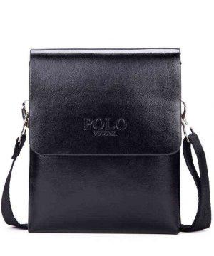 Kožená crossbody taška cez rameno POLO SMALL v čiernej farbe